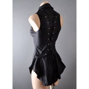 dressuphoney Tops - Black Steampunk Corset Lace Up Blouse Shirt Top